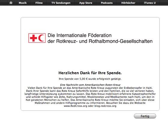 Erdbebenhilfe - Spende via iTunes
